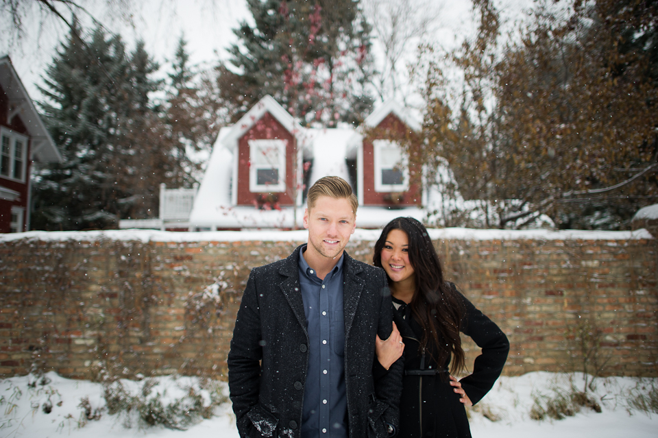 edgy engagement session - winter luxury photography