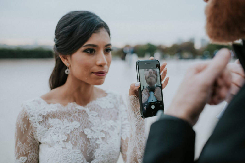 bride and phone