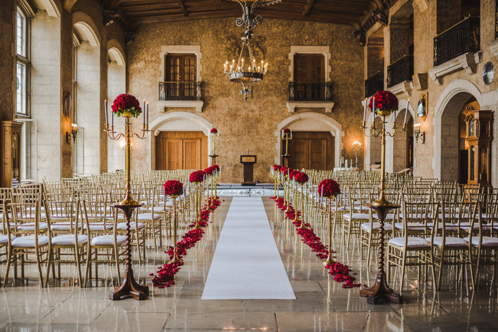 Red Roses and Gold Accent Decor for this Luxury Wedding in Banff