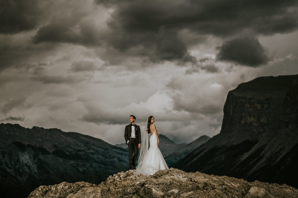 Couple enjoying breathtaking views  during their Luxury Wedding on the Rocky Mountains