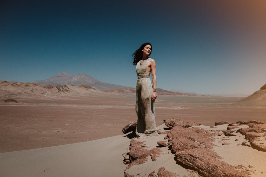 Stunning Photograph of a women in the chilean desert