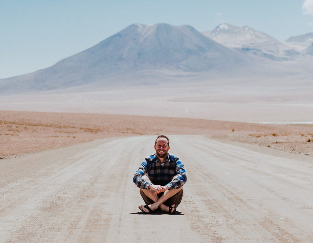 Man enjoying the sun in the Atacama desert