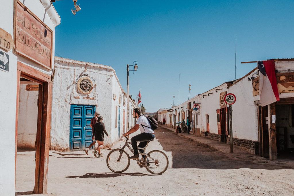 A bicycle crossing the charming streets of San Pedro de Atacama Chile