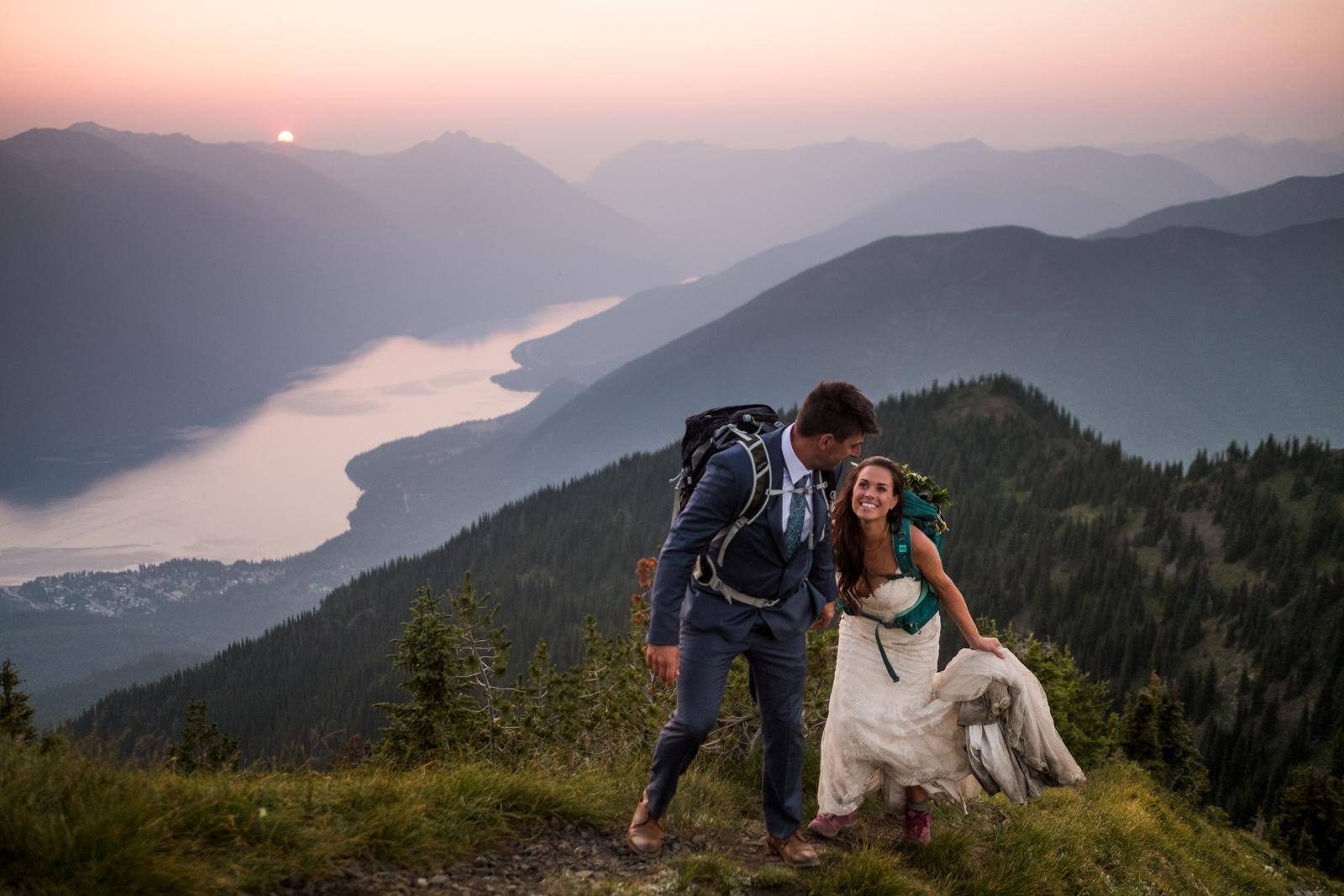 Hiking wedding images