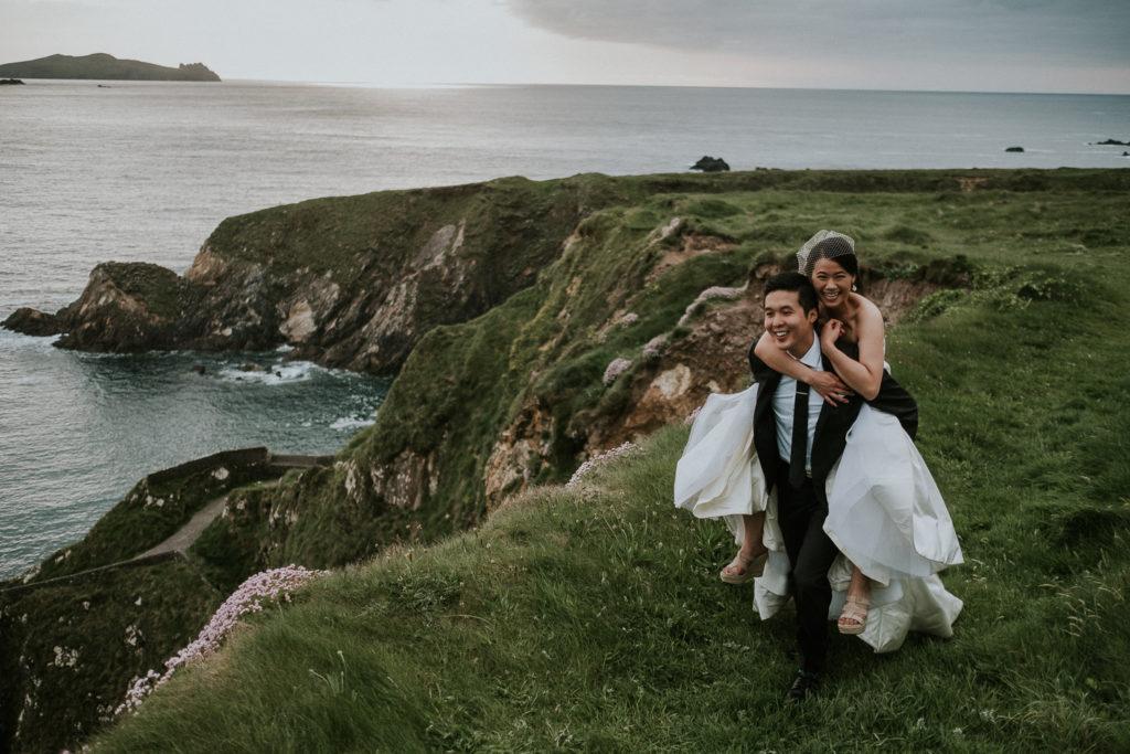 bride on groom back