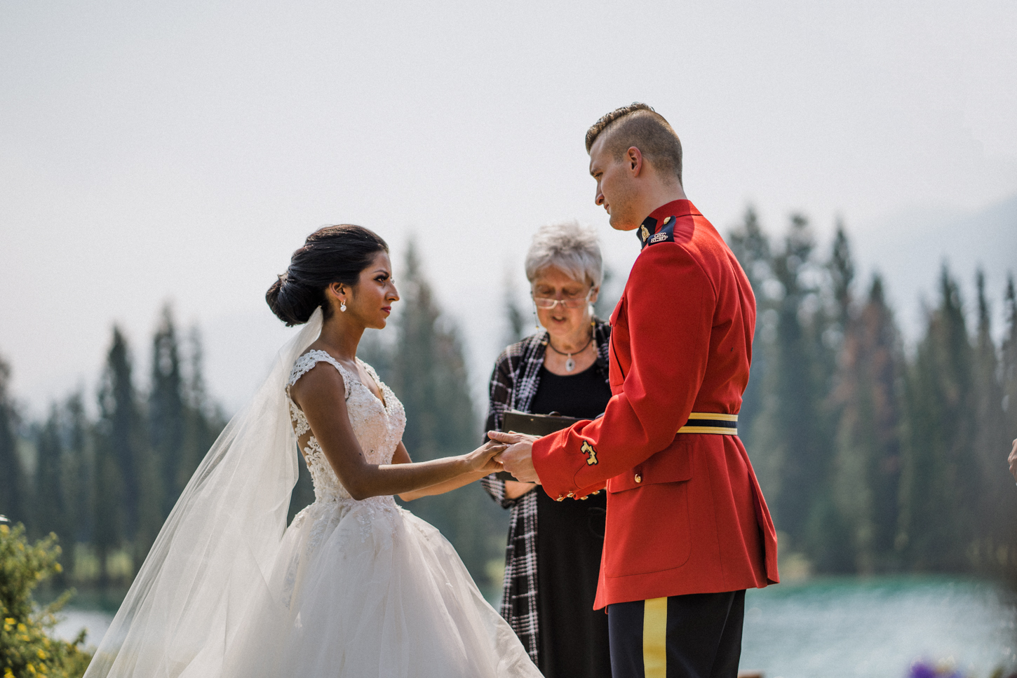 wedding with rcmp mountains