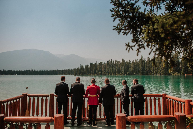 groomsmen photo lake