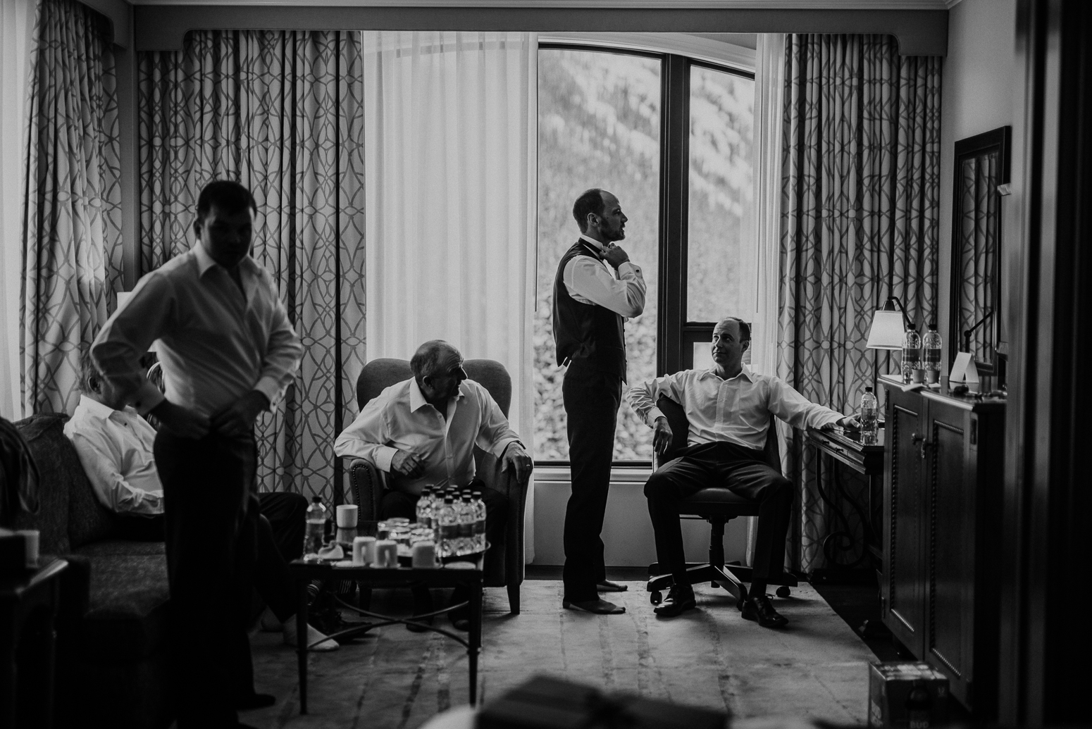 groomsmen getting dressed