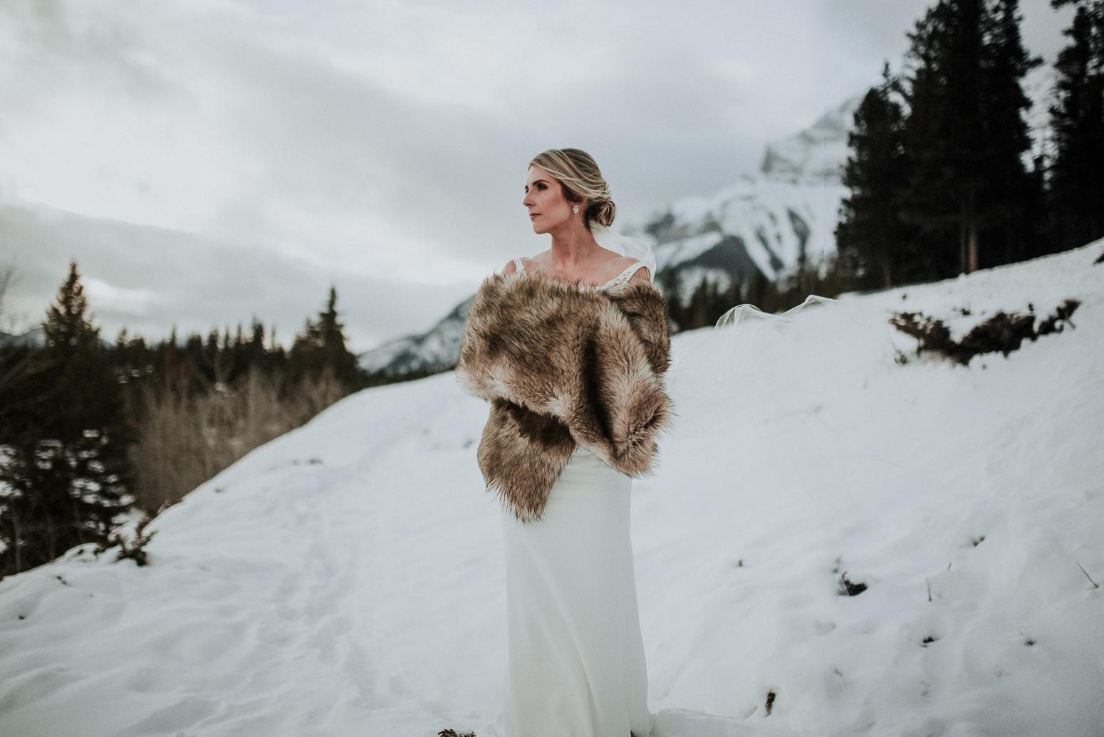 winter bride portrait