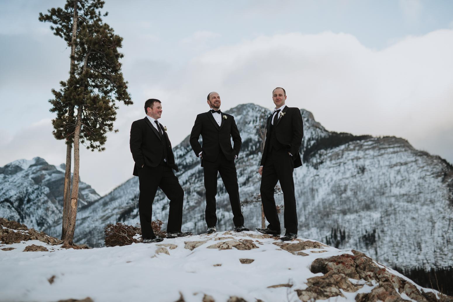 groomsmen at winter wedding