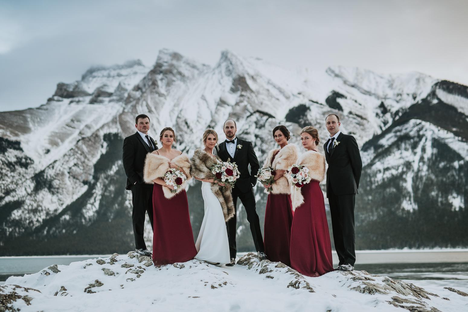 Bridal Party at winter wedding
