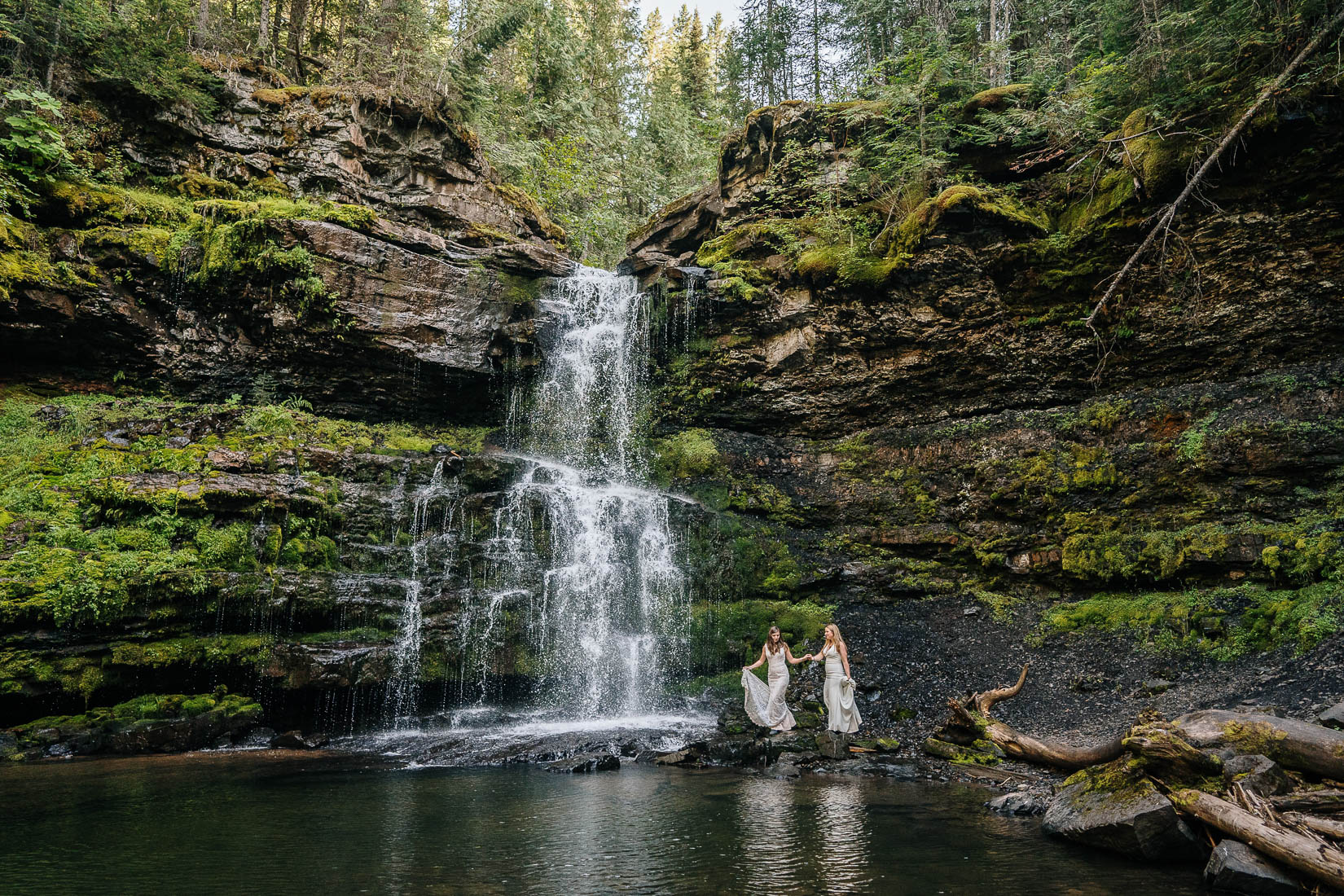 waterfall brides together