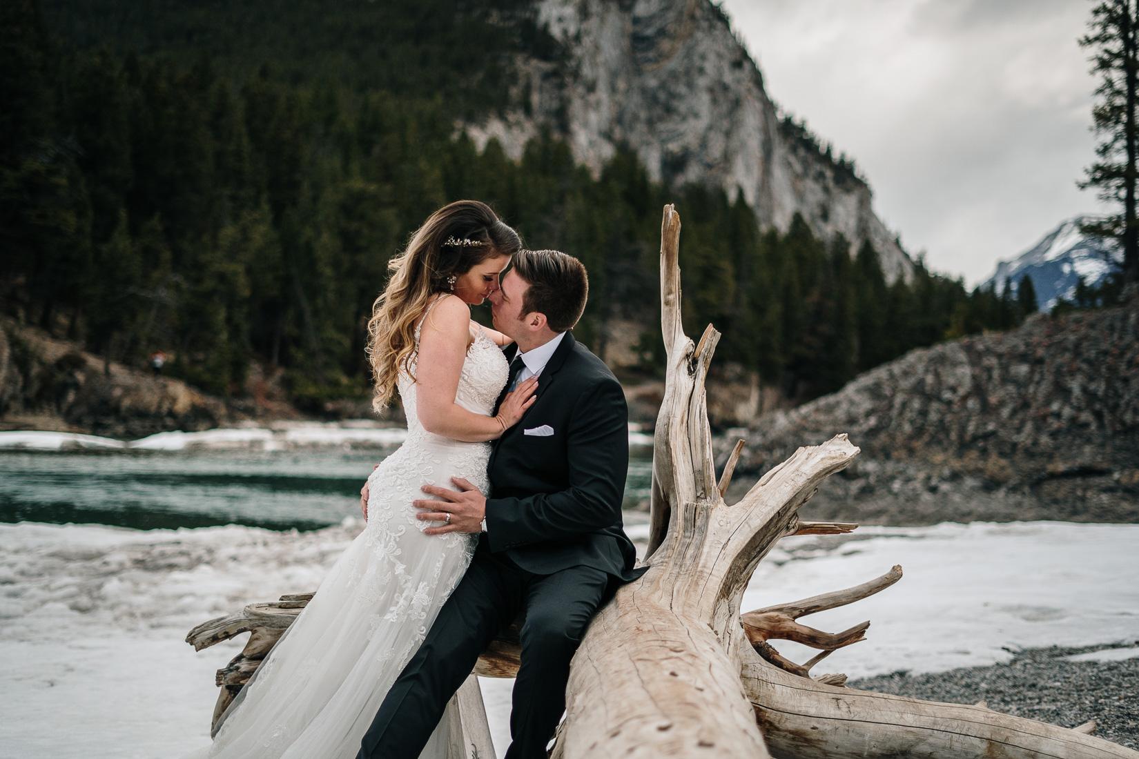 sexy wedding pose near river