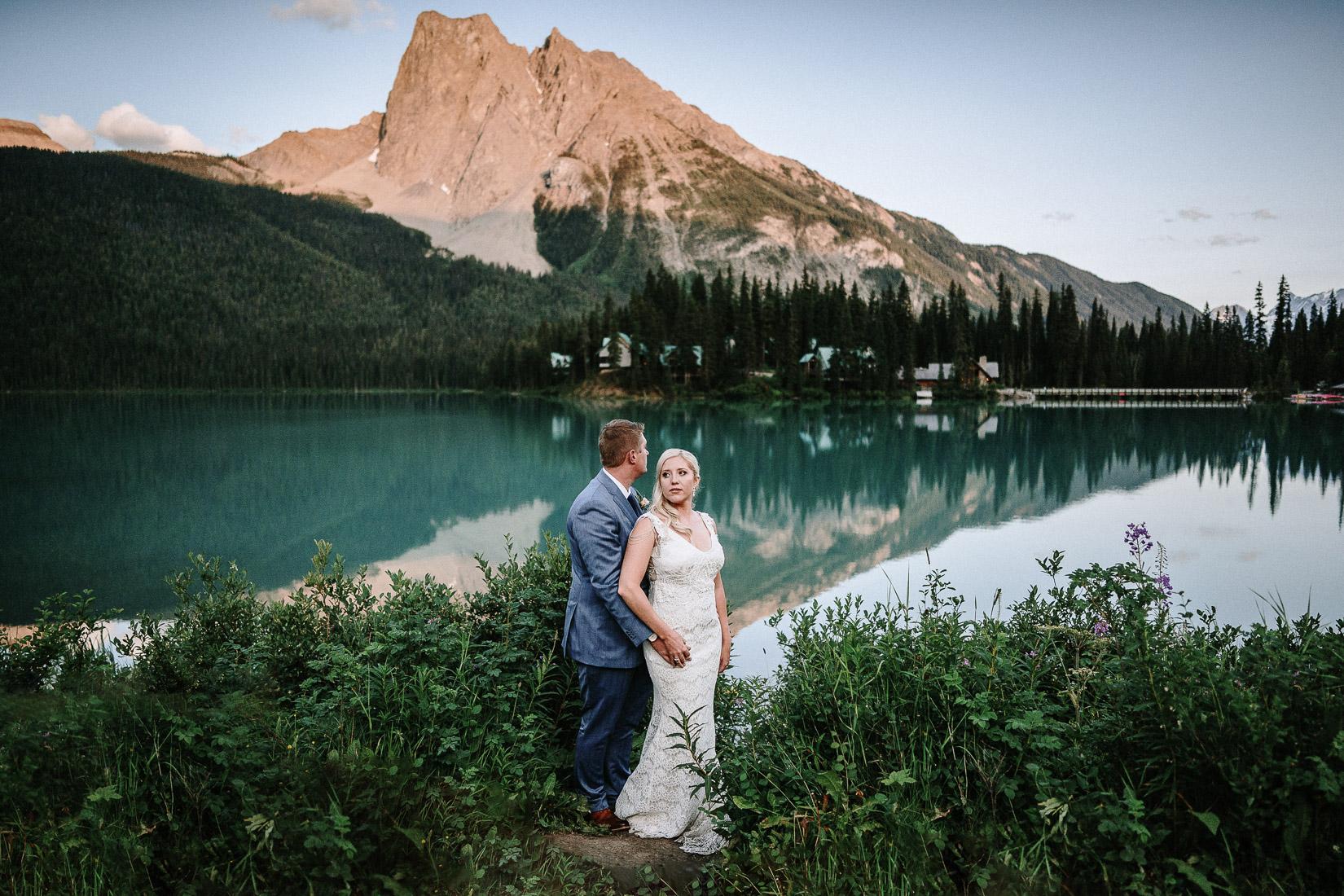 wedding at Emerald lake Lodge sunset